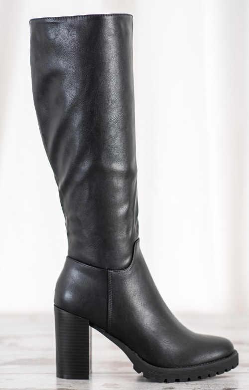 Fekete női magas csizma