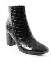 Fekete alacsony csizma krokodil mintával