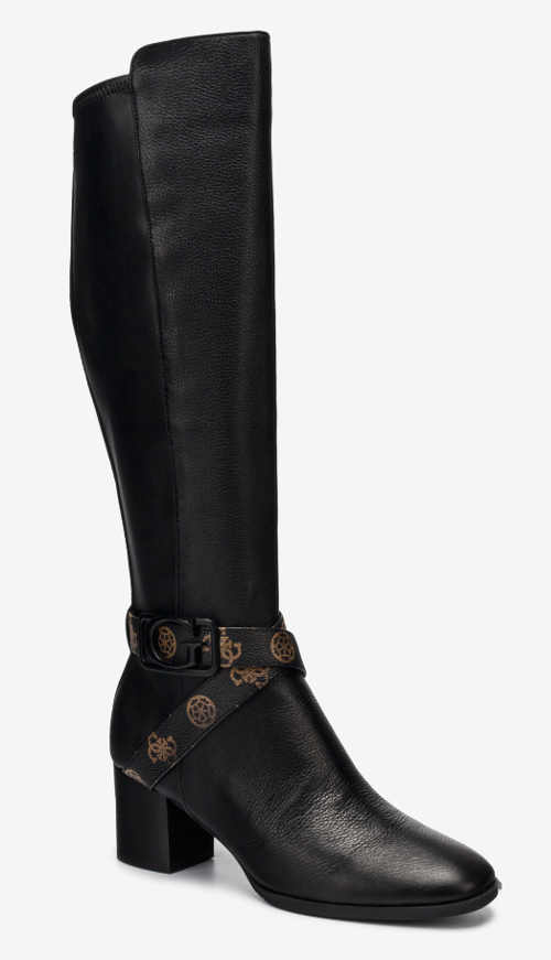 Fekete bőr Guess csizma dekoratív bokapánttal
