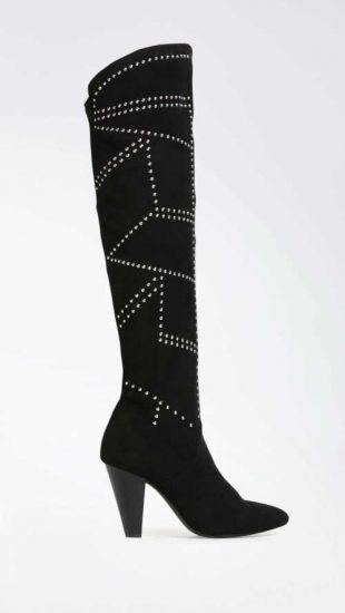 Modern magas csizma fekete és ezüst színben