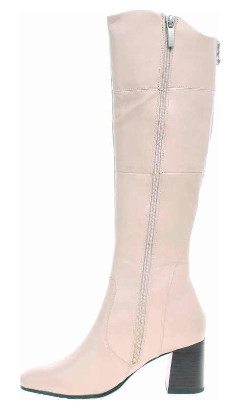 Világos rózsaszín női csizma két cipzárral