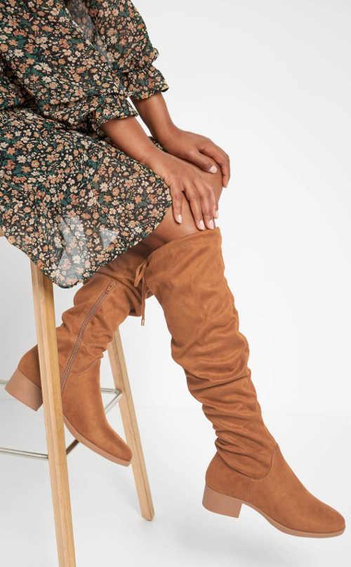 Világosbarna női magas csizma Orsay öko-szarvasbőrből