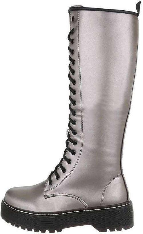Fényes ezüst női csizma fűzős cipővel